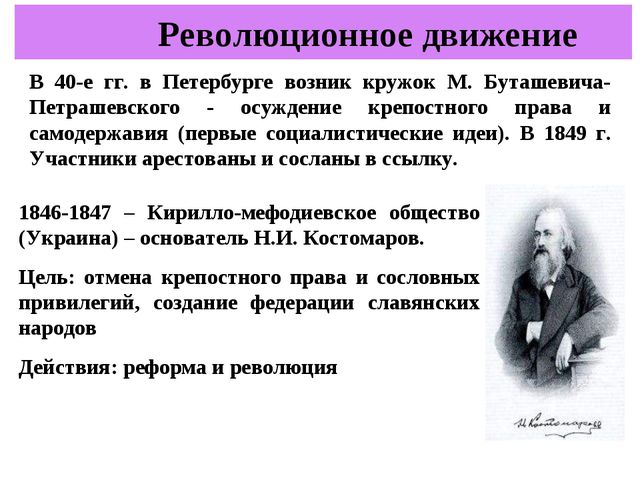 В 40-е гг. в Петербурге возник кружок М. Буташевича-Петрашевского - осуждение...