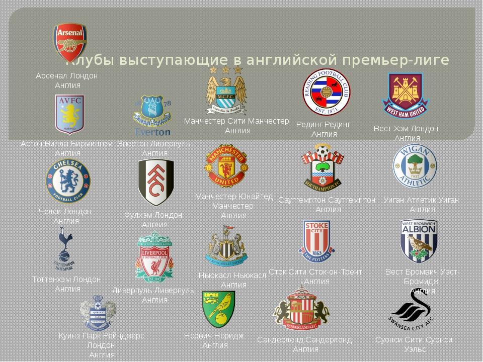 Клубы выступающие в английской премьер-лиге Челси Лондон Англия Арсенал Лонд...