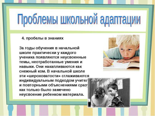4. пробелы в знаниях За годы обучения в начальной школе практически у каждого...