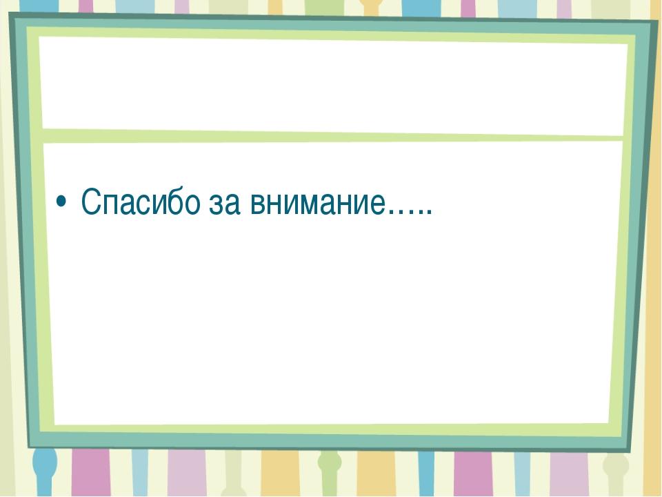 Спасибо за внимание…..