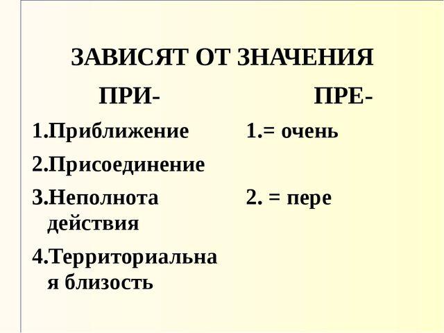 ЗАВИСЯТ ОТ ЗНАЧЕНИЯ ПРИ- 1.Приближение 2.Присоединение 3.Неполнота действия 4...