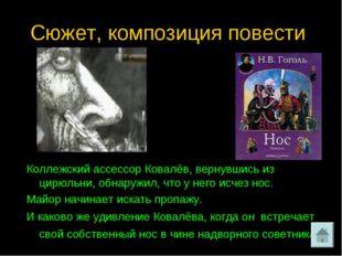 Сюжет, композиция повести. Коллежский ассессор Ковалёв, вернувшись из цирюльн