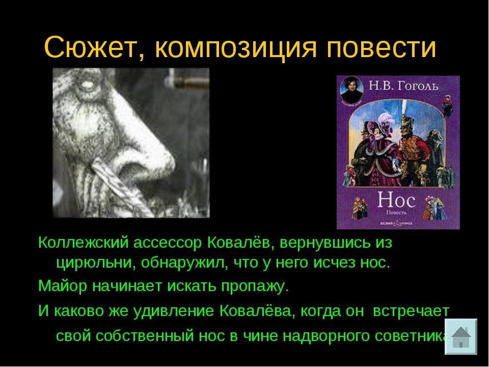 Сюжет, композиция повести. Коллежский ассессор Ковалёв, вернувшись из цирюльн...