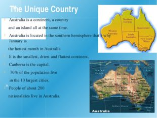 The Unique Country Australia is a continent, a country and an island all at