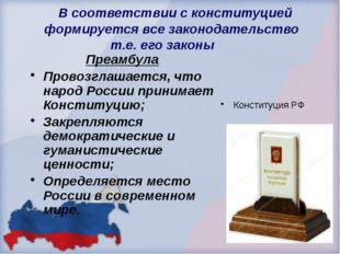 В соответствии с конституцией формируется все законодательство т.е. его зако