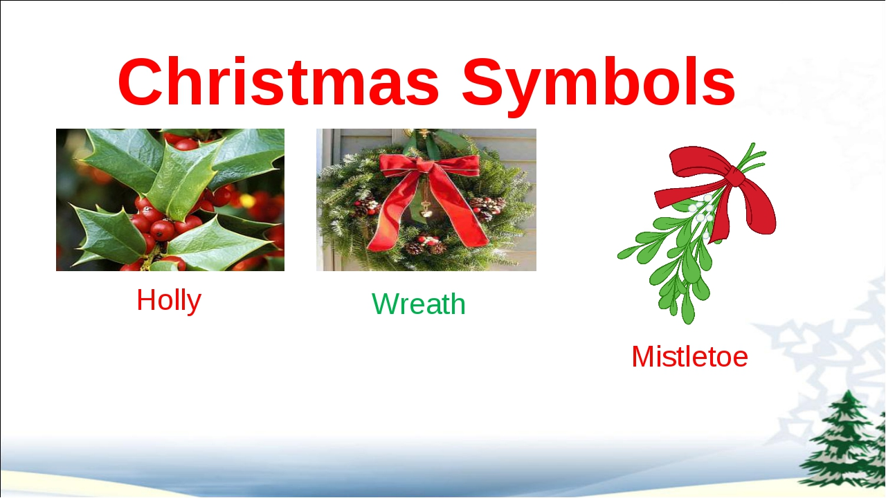 Christmas Symbols Holly Wreath Mistletoe