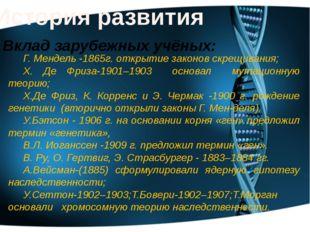 История развития Г. Мендель -1865г. открытие законов скрещивания; X. Де Фриза