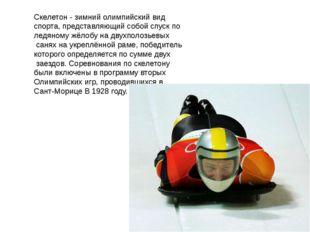 Скелетон - зимний олимпийский вид спорта, представляющий собой спуск по ледян