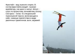 Фристайл - вид лыжного спорта. В состав фристайла входят: лыжная акробатика,
