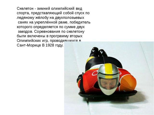 Скелетон - зимний олимпийский вид спорта, представляющий собой спуск по ледян...
