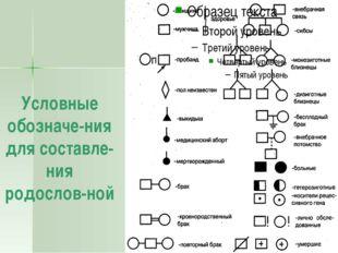 Условные обозначе-ния для составле-ния родослов-ной