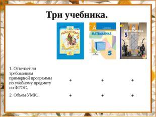 Три учебника. 1. Отвечает ли требованиям примерной программы по учебному пред
