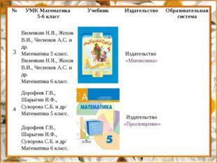 № УМК Математика 5-6 класс Учебник Издательство Образовательная система 3 Вил