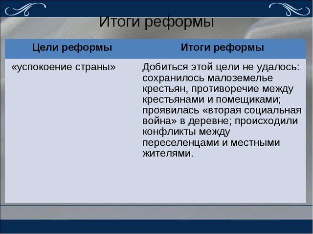 Итоги реформы Цели реформыИтоги реформы «успокоение страны» Добиться этой ц...