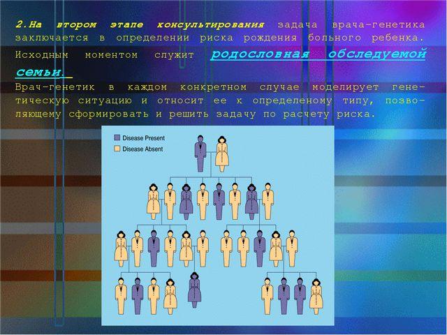 2.На втором этапе консультирования задача врача-генетика заключается в опреде...