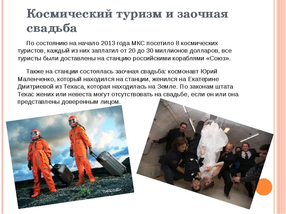 Космический туризм и заочная свадьба По состоянию на начало2013 годаМКС пос...