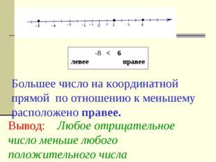 Большее число на координатной прямой по отношению к меньшему расположено прав