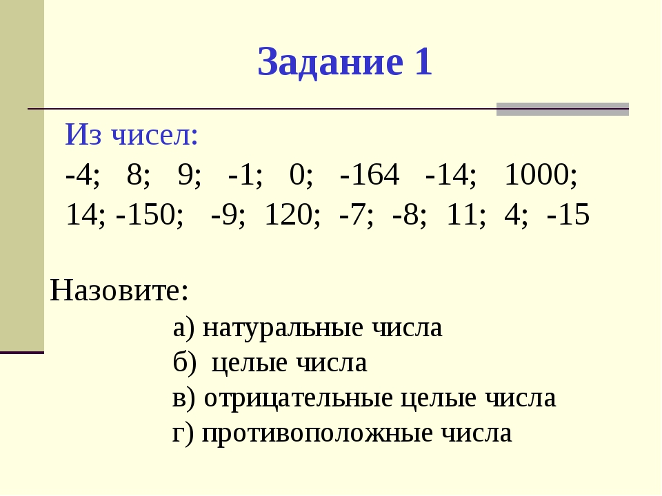 Задание 1 Из чисел: -4; 8; 9; -1; 0; -164 -14; 1000; 14; -150; -9; 120; -7; -...