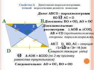 Свойство 2. Диагонали параллелограмма точкой пересечения делятся пополам В А