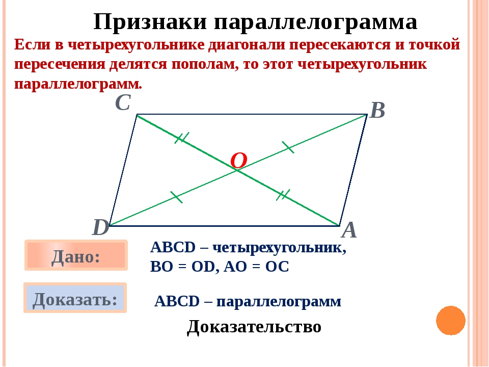 О Признаки параллелограмма Если в четырехугольнике диагонали пересекаются и...