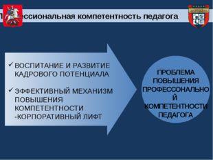 ПРОБЛЕМА ПОВЫШЕНИЯ ПРОФЕССОНАЛЬНОЙ КОМПЕТЕНТНОСТИ ПЕДАГОГА Профессиональная