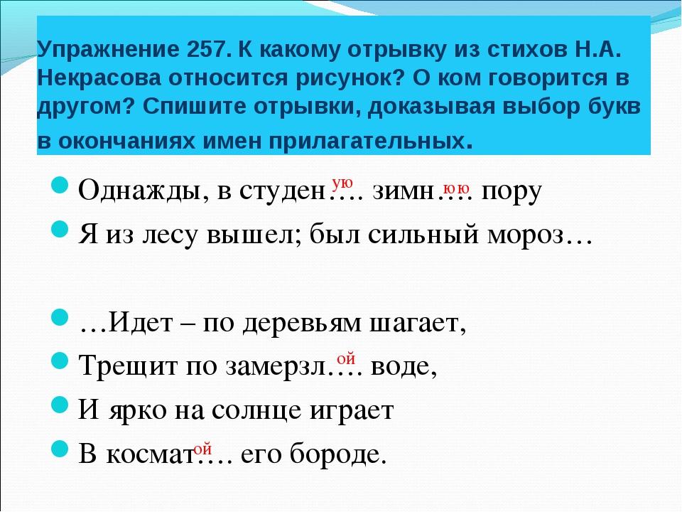 Упражнение 257. К какому отрывку из стихов Н.А. Некрасова относится рисунок?...