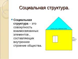 Социальная структура. Социальная структура – это совокупность взаимосвязанных