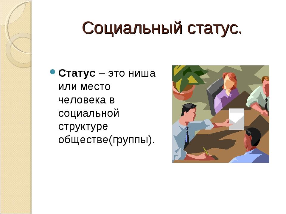 Социальный статус. Статус – это ниша или место человека в социальной структур...