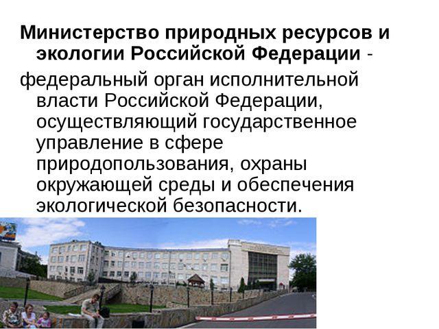 Министерство природных ресурсов и экологии Российской Федерации- федеральный...