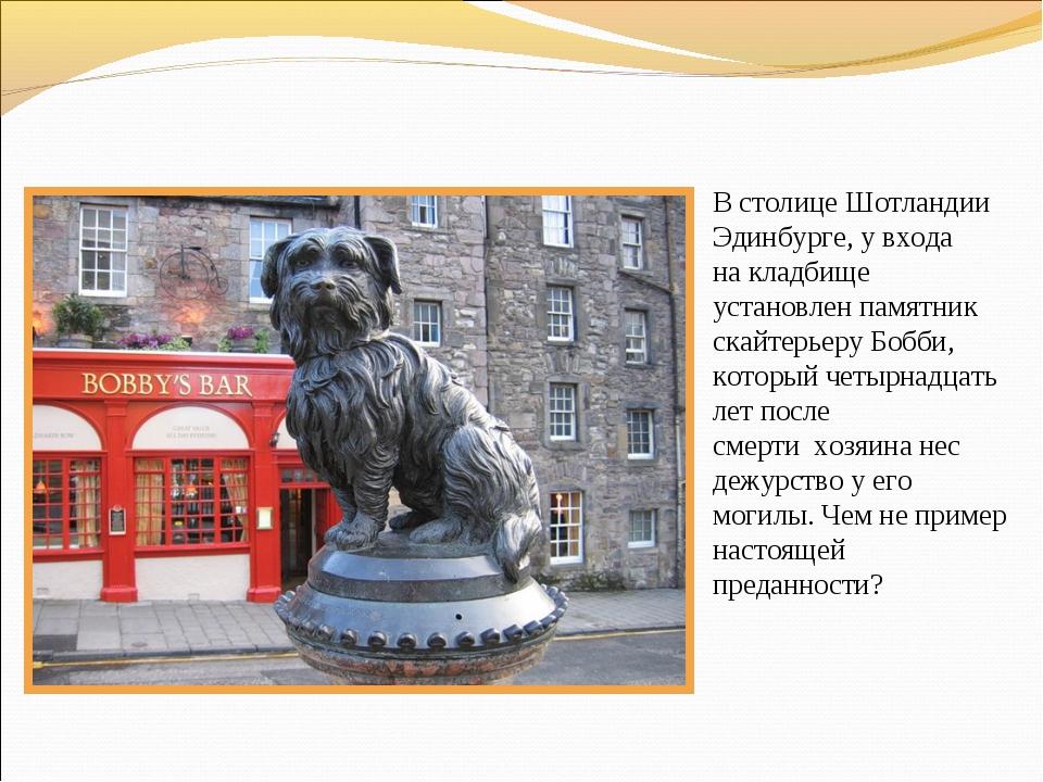 Встолице Шотландии Эдинбурге, увхода накладбище установлен памятник скайте...
