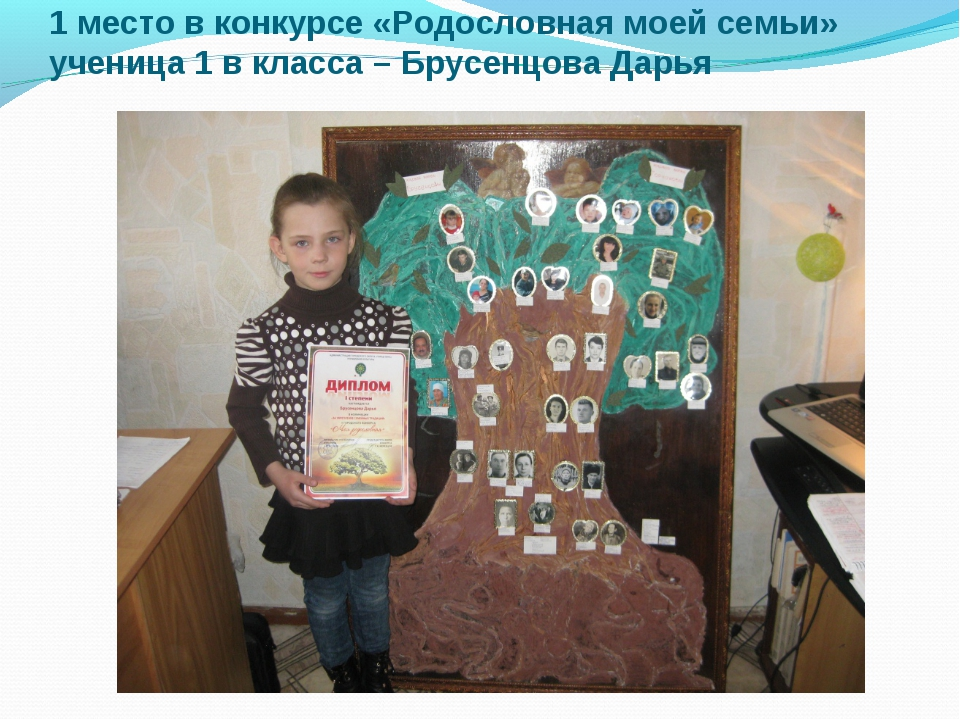 1 место в конкурсе «Родословная моей семьи» ученица 1 в класса – Брусенцова Д...