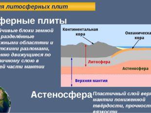 Теория литосферных плит Литосферные плиты Устойчивые блоки земной коры, разд
