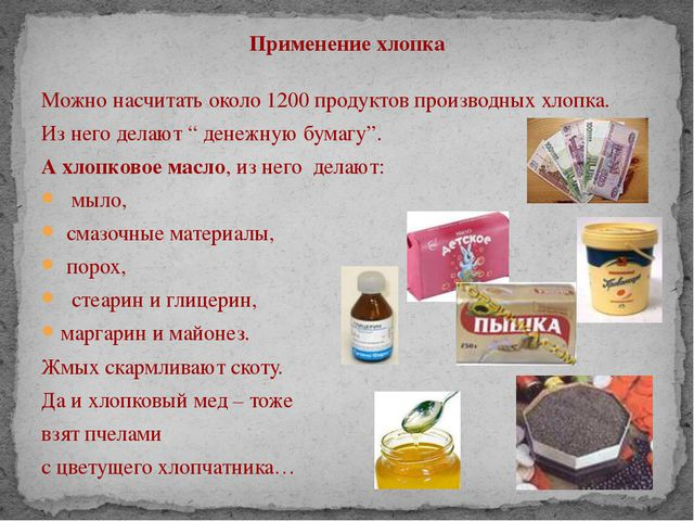 Применение хлопка Можно насчитать около 1200 продуктов производных хлопка. Из...