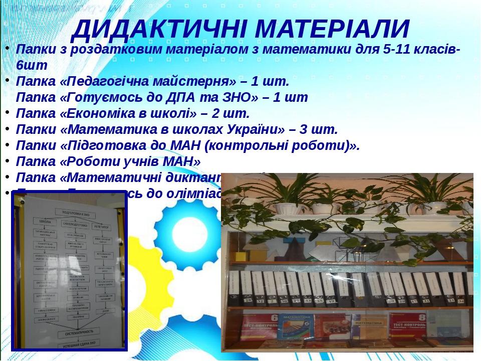 ДИДАКТИЧНІ МАТЕРІАЛИ Папки з роздатковим матеріалом з математики для 5-11 кла...