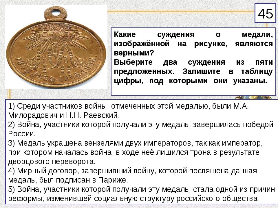 Какие суждения о медали, изображённой на рисунке, являются верными? Выберите...