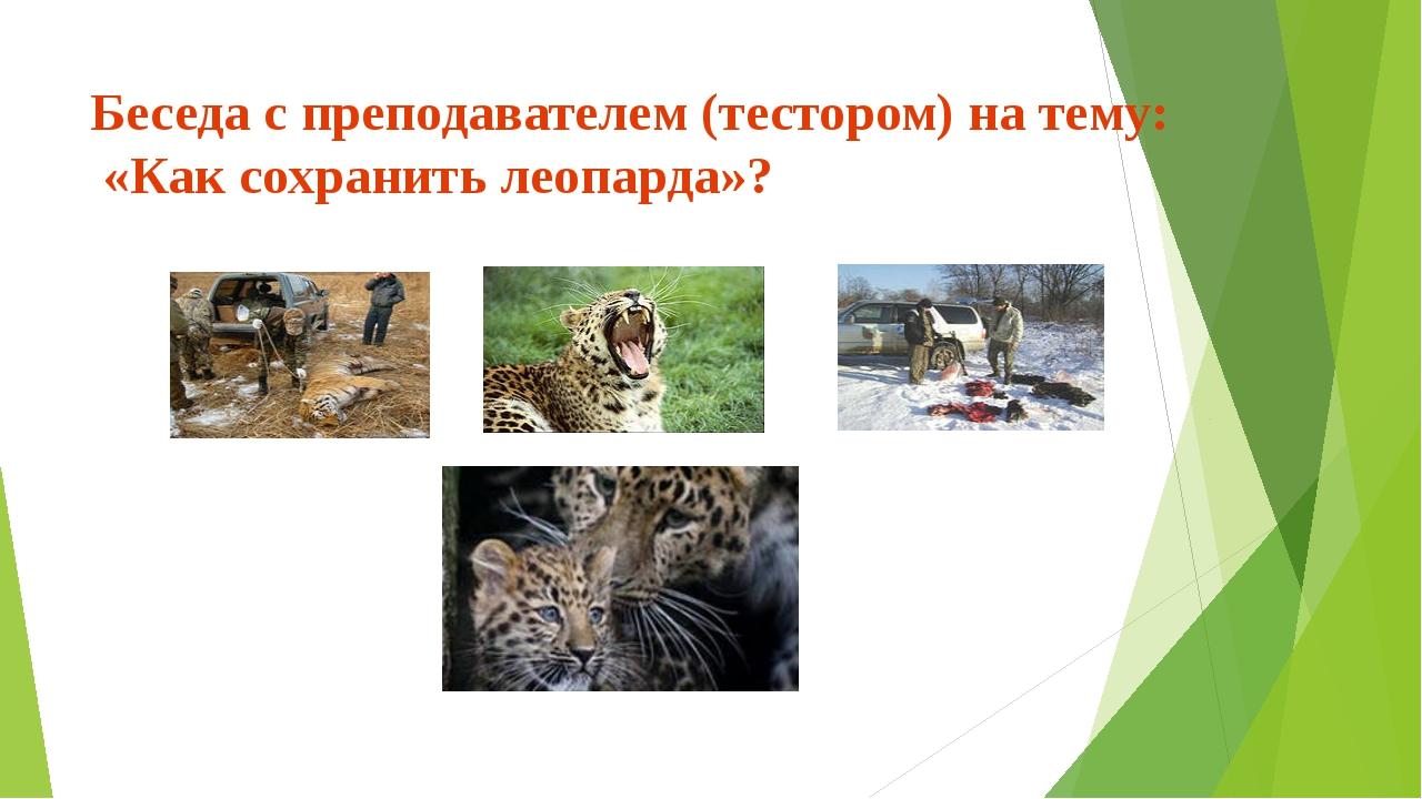 Беседа с преподавателем (тестором) на тему: «Как сохранить леопарда»?