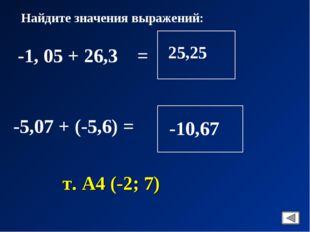 Найдите значения выражений: -1, 05 + 26,3 = -5,07 + (-5,6) = т. А4 (-2; 7)