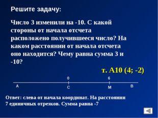 Решите задачу: Число 3 изменили на -10. С какой стороны от начала отсчета рас
