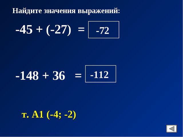 Найдите значения выражений: -45 + (-27) = -148 + 36 = т. А1 (-4; -2)