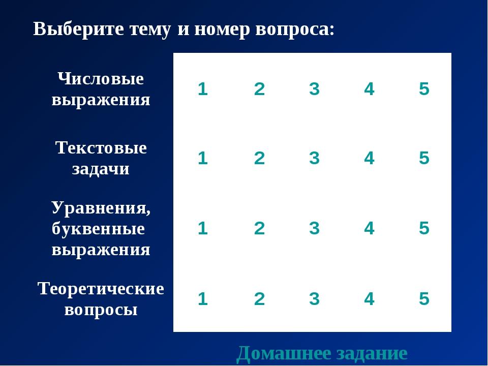 Выберите тему и номер вопроса: Домашнее задание Числовые выражения12345...