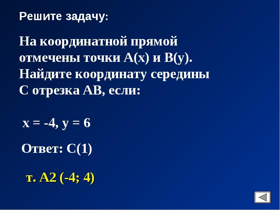 Решите задачу: На координатной прямой отмечены точки А(х) и В(у). Найдите коо...