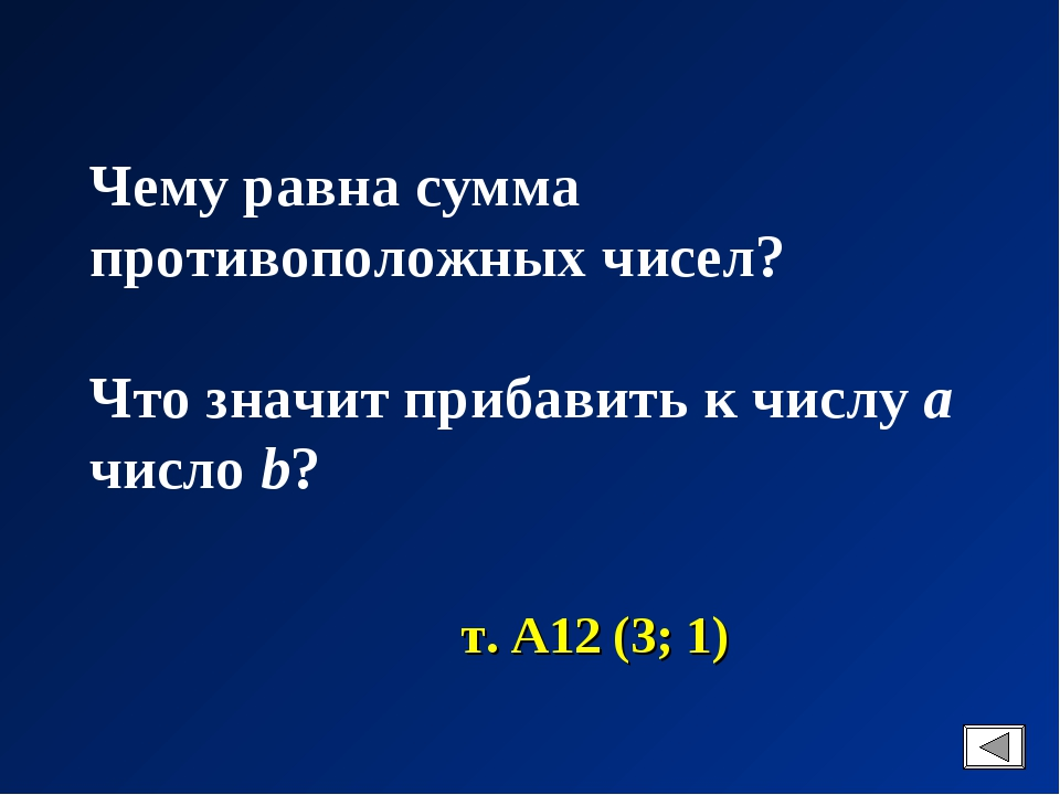 Чему равна сумма противоположных чисел? Что значит прибавить к числу a число...