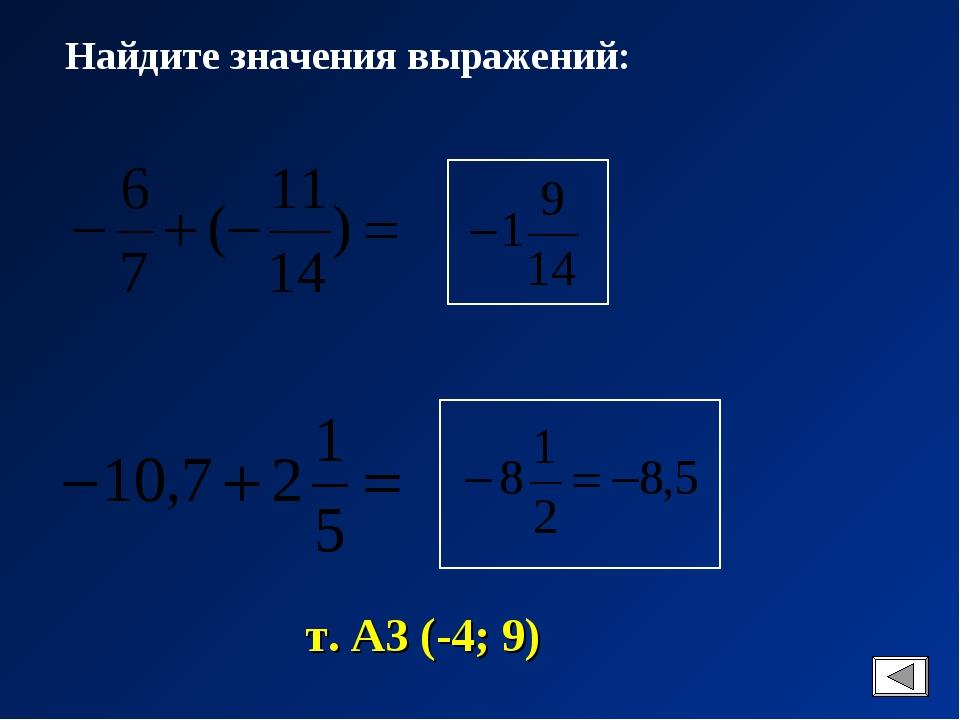 Найдите значения выражений: т. А3 (-4; 9)