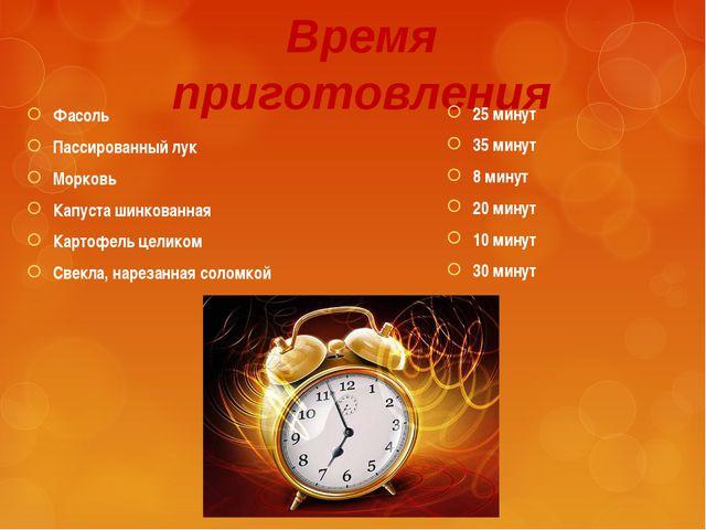 Время приготовления 25 минут 35 минут 8 минут 20 минут 10 минут 30 минут Фасо...