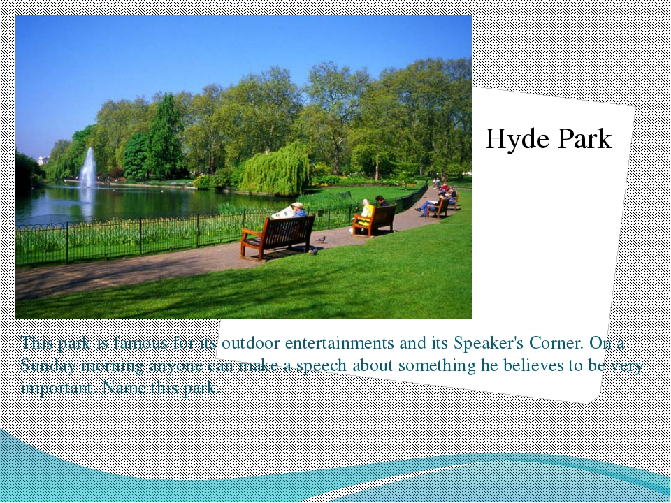 This park is famous in London. The statue of the famous fairytale hero, Peter...