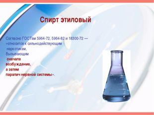 Спирт этиловый Согласно ГОСТам 5964-72, 5964-82 и 18300-72 — «относится к сил