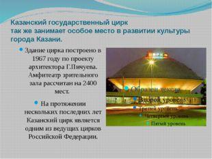 Казанский государственный цирк так же занимает особое место в развитии культу