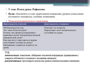 УУД: личностные: осмысление, обобщение полученной информации, формирование у