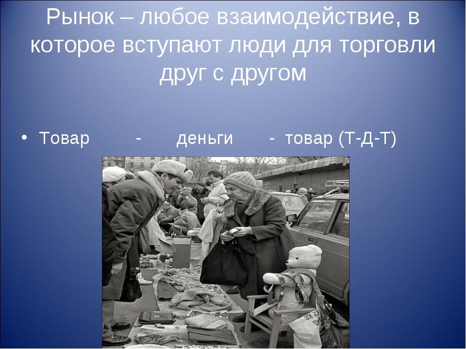 Рынок – любое взаимодействие, в которое вступают люди для торговли друг с дру...
