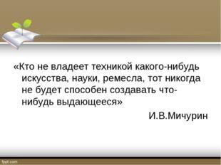 «Кто не владеет техникой какого-нибудь искусства, науки, ремесла, тот никогд
